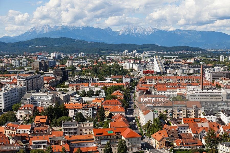 Downtoan Ljubljana with Julian Alps in the background  as seen from the Castle, Ljubljana, Slovenia, Europe, European Union